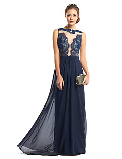 TS Couture® Formal Evening Dress - Dark Navy Sheath/Column Bateau Floor-length Chiffon / Lace