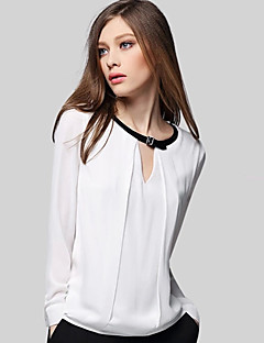 Women's Going out Street chic Blouse,Color Block Round Neck Long Sleeve White Polyester Medium