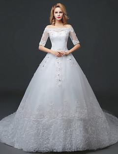 A-라인 웨딩 드레스 코트 트레인 보트넥 레이스 / 튤 와 레이스