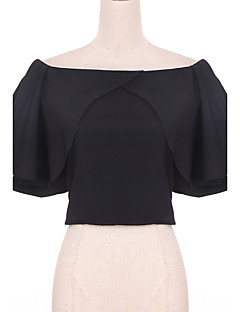 Women's Casual/Daily Simple Blouse,Solid Boat Neck Sleeveless Black / Gray Polyester Thin