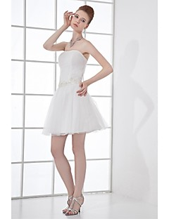 Lanting A-line Wedding Dress - Ivory Short/Mini Strapless Tulle