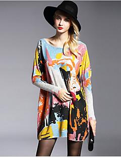 Longue Pullover Femme simple,Imprimé Blanc Beige Gris Col Arrondi Manches Longues Laine Coton Printemps Moyen Elastique
