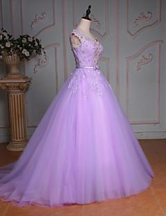 Princess Wedding Dress-Lilac Court Train V-neck Lace / Tulle
