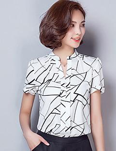 Geometrisk Kortärmad Skjorta Kvinnors V-hals Rayon / Polyester