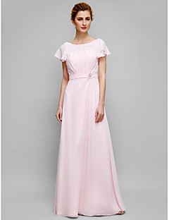 Lanting Sheath/Column Mother of the Bride Dress - Blushing Pink Floor-length Short Sleeve Chiffon