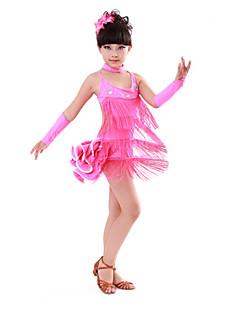 Latin Dance Children's Performance Cotton / Spandex Rhinestones Tassel(s) Dresses 4 Pieces