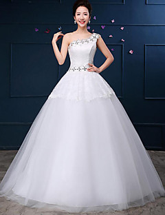 Ball Gown Wedding Dress-White Floor-length One Shoulder Lace / Tulle