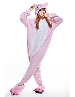 Kigurumi Pyjamas New Cosplay® Grisebasse Trikot/Heldragtskostumer Festival/Højtider Nattøj Med Dyr Halloween Lyserød Patchwork Polarfleece