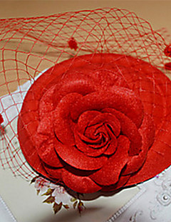 Red Rose Hat Shape Fascinator for Party Hair Jewelry