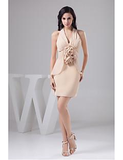 Cocktail Party Dress-Pearl Pink Sheath/Column Halter Short/Mini Chiffon