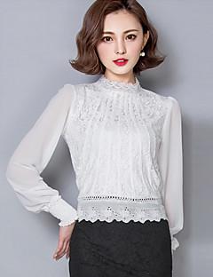 Chemisier Aux femmes,Couleur Pleine Habillées Vintage / simple Eté Manches Longues Mao Rose / Blanc Acrylique / Polyester Opaque