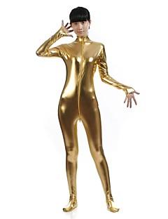 Pure Color Shiny Metallic Women Spandex Catsuit