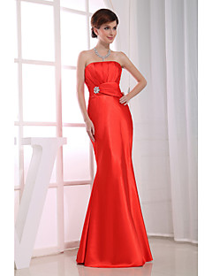 Formal Evening Dress-Ruby Trumpet/Mermaid Strapless Floor-length Satin