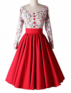 Women's Going out Vintage Punk & Gothic Swing Dress,Floral Pleated Round Neck Knee-length Long Sleeve Cotton Rayon Red Black All Seasons