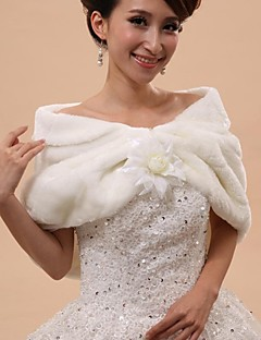Wedding  Wraps / Fur Wraps / Hoods & Ponchos Capelets Sleeveless Faux Fur White Wedding / Party/Evening Off-the-shoulderButton /