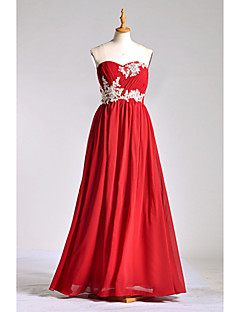Floor-length Chiffon / Lace / Charmeuse Bridesmaid Dress A-line Sweetheart withAppliques / Beading / Lace / Bandage / Side Draping /