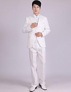 חליפות גזרה מחוייטת פתוח Single Breasted One-button פוליאסטר חלק 4 חלקים שחור / לבן