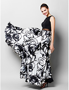 TS Couture® Formal Evening Dress A-line Scoop Floor-length Chiffon / Charmeuse with Pattern / Print
