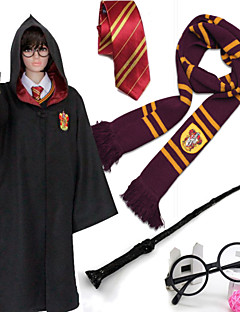 Black Cloak From Movie Harry Halloween Cosplay Kids Costumes 5PCS(Cloak/Necktie/Scarf/Magic Wand/Spectacle Frame)