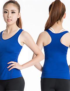 Dame T-skjorte til jogging Ermeløs Fort Tørring Komprimering Singleter Topper til Yoga & Danse Sko Trening & Fitness Løp Polyester Elastan
