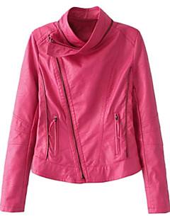 Women's Solid Pink / Black Sweatshirt,Stand Long Sleeve