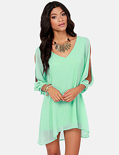 Women's Holiday Simple / Street chic Loose / Chiffon Dress,Solid V Neck Above Knee Long Sleeve Blue / Pink / Red / Black / Green Polyester
