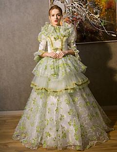/שמלותחתיכה אחת לוליטה גותי Steampunk® / ויקטוריאני Cosplay שמלות לוליטה ירוק בהיר אחיד 3/4-אורך שרוול ארוך שמלה / כובע ל נשיםמשי / סאטן