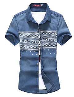 Pánské Tisk Denní nošení / Pracovní / Větší velikosti Krátký rukáv Bavlna / Polyester Košile Modrá