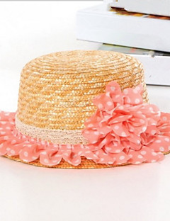 Idyllic Beach Straw Hat Chiffon Flowers