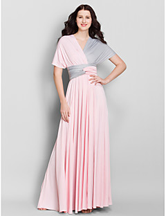 Lanting Bride® Ankle-length Jersey Convertible Dress Bridesmaid Dress - A-line V-neck with Criss Cross