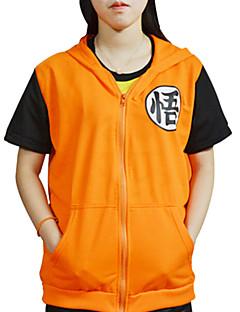 Inspirado por Dragon ball Son Goku Anime Fantasias de Cosplay Cosplay T-shirt Estampado Amarelo Manga Curta Casaco