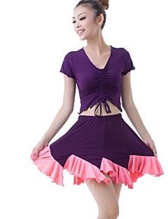 Latin Dance Outfits Women's Training Milk Fiber Draped / Pleated 2 Pieces Dark Purple Latin Dance Short Sleeve Natural Skirt / Top