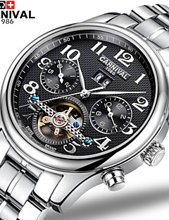 Carnival Heren Skeleton horloge Automatisch opwindmechanisme Hol Gegraveerd Roestvrij staal Band Wit
