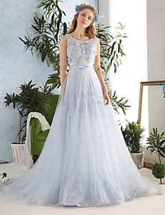 Princess Wedding Dress Chapel Train Scoop Lace / Tulle withBow / Crystal / Embroidered / Flower / Lace / Pattern / Sash / Ribbon /
