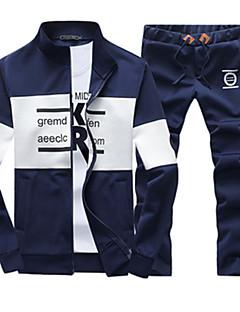 Langærmet Tryk Mænds Activewear Sets Fritid Bomuld