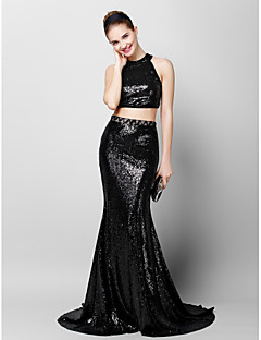 Formal Evening Dress - Black Trumpet/Mermaid Jewel Court Train Sequined