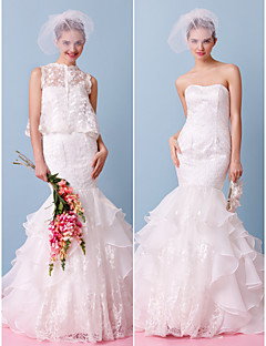 Lanting Bride Fit & Flare Wedding Dress-Court Train Strapless Lace / Organza / Tulle