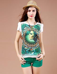 De las mujeres Estampado Camiseta-Escote Redondo-Algodón / Poliéster-Manga Corta