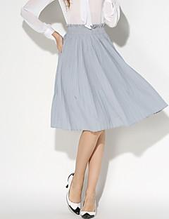 Women's Solid Black / Gray / Yellow Skirts,Holiday / Beach Pleated Elastic waist Fashion Slim Thin Cotton/Linen