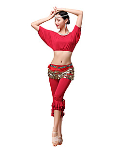Belly Dance Outfits Women's Training Modal Gold Coins / Ruffles 3 Pieces Short Sleeve Dropped Pants / Top / Belt M:32cm   L:34cm