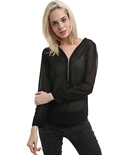 kvinders sexede v hals lynlås chiffon skjorte