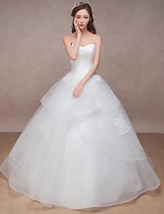 Princess Wedding Dress-White Floor-length Sweetheart Organza