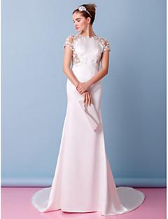 lanting 신부 트럼펫 / 인어 웨딩 드레스 예배당 기차 국자 레이스 / 새틴