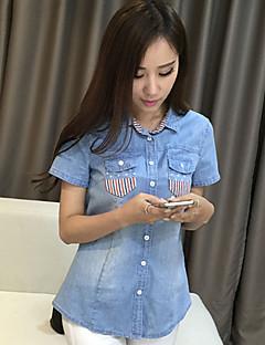 Overhemdkraag-Katoen-Knoop-Vrouwen-Overhemd-Korte mouw