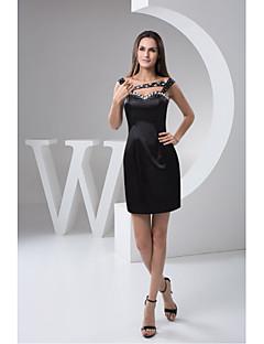 Cocktail Party Dress-Black Sheath/Column Sweetheart Short/Mini Satin