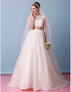 Lanting Bride® A-line Wedding Dress Two-Piece Wedding Dresses Court Train Jewel Lace / Tulle with Lace