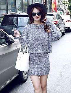 Women's Casual/Daily Street chic Short Set,Solid Gray Round Neck Long Sleeve Cotton / Polyester Spring Medium
