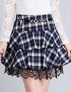 Damen Röcke - Leger / Einfach Übers Knie Baumwolle Mikro-elastisch
