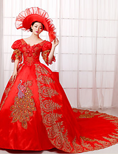 Un Pezzo/Vestiti Lolita Classica e Tradizionale Steampunk® / Vittoriano Cosplay Vestiti Lolita Rosso Tinta unita Mezze maniche LungoAbito