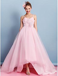 Lanting una linea di abito da sposa - arrossire rosa asimmetrica spalline in tulle